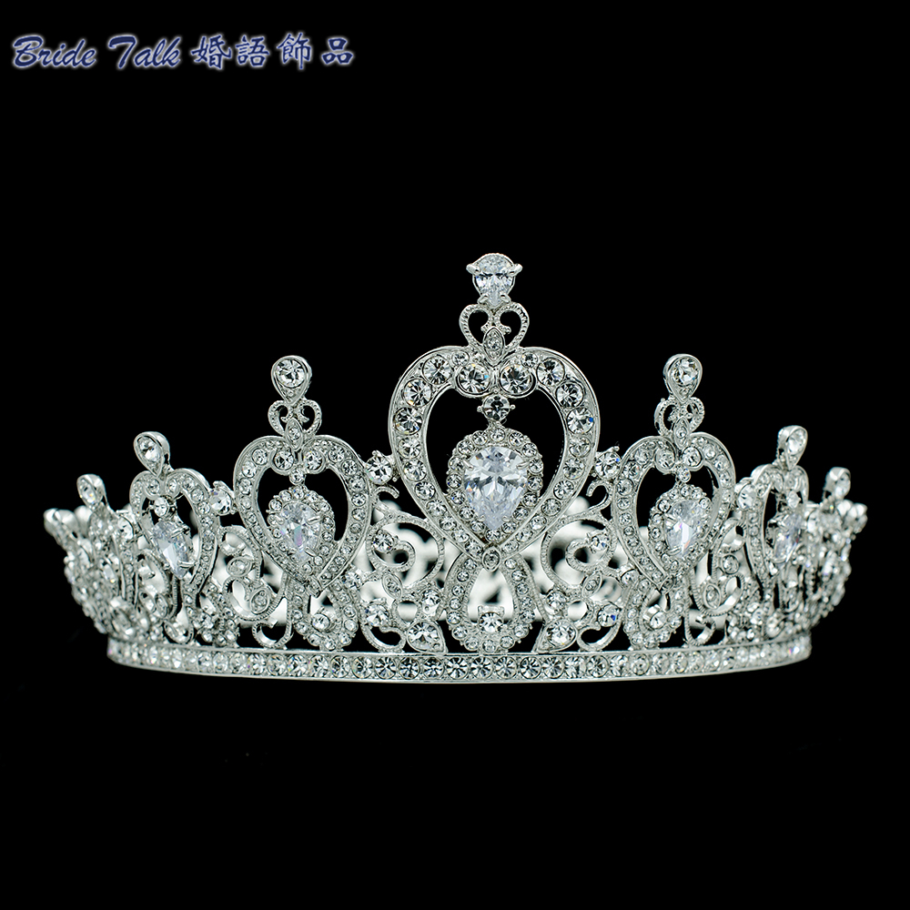 High Quality Heart Love Crown Bridal Wedding Tiara Women Hair Jewelry with Austrian Crystals Rhinestone SHA8736 with love hair 6a 13 4 withlove20150201