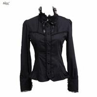 Women Lady Shirt Ainclu Fashion Women's High Quality Black Long Sleeves Cotton Lolita Top T Shirt Blouse With Lace