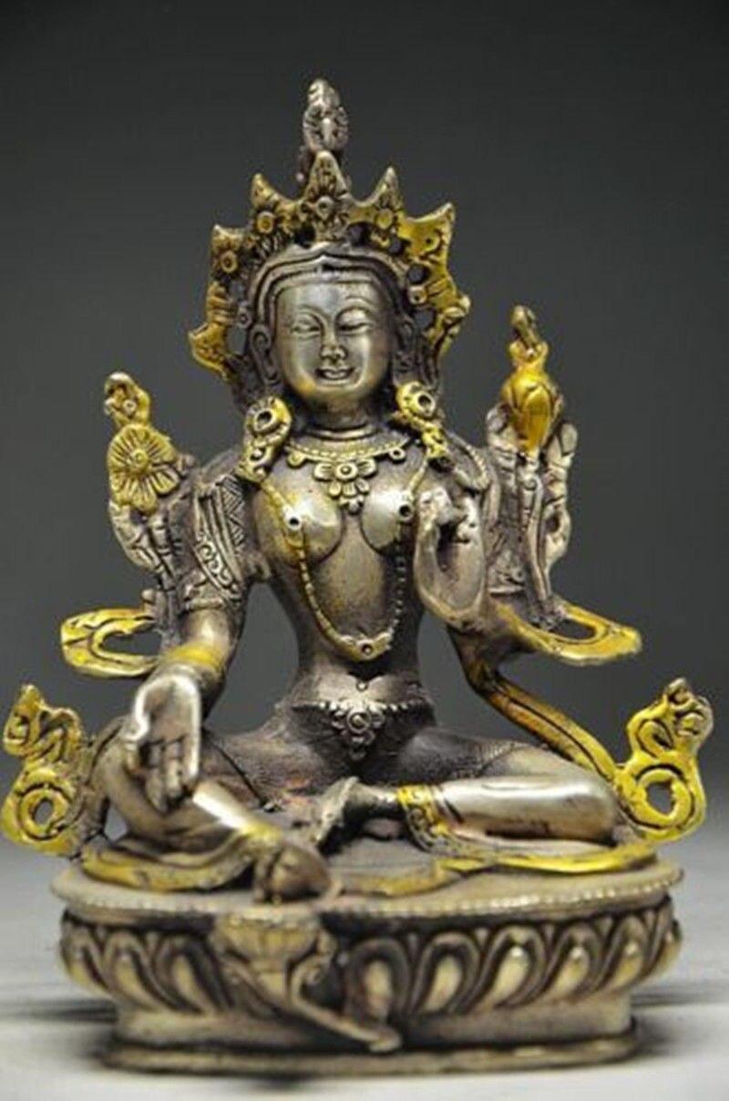 Tibet Buddhism Silver copper Gilt Green Tara Kwan-Yin Bodhisattva Buddha statue