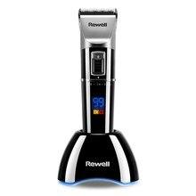 Rewell Professional máquina de Cortar Cabelo Aparador de Pêlos Recarregável bateria De Lítio 2500mA liga de Titânio Lâmina de Corte Turbo para o Barbeiro