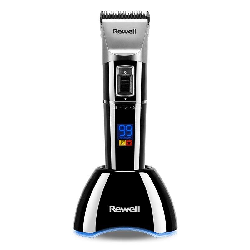 Rewell professionnel tondeuse à cheveux Rechargeable tondeuse 2500mA batterie au Lithium alliage de titane lame coupe Turbo pour barbier
