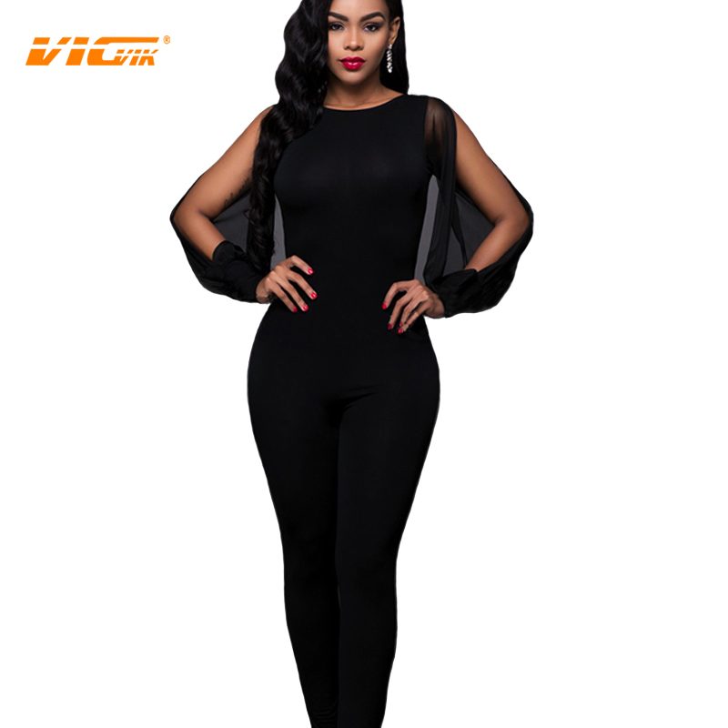 Cool Elegant Jumpsuit Lantern Sleeve Work Wear V Neck Chiffon Rompers Women