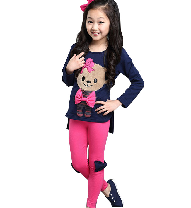 Children s clothing 2017 girls bear sets the new cotton children spring and autumn candy color leisure two - piece