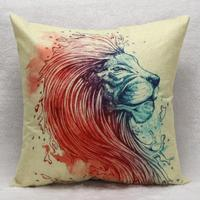 2017 Lion Head Pattern Vintage Square Pillow Case cojines Animals Cushion Cover Home Room Decor Almofadas Cover travesseiro