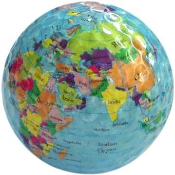 Pelota de golf vendedora caliente del mapa del globo del mundo 3pcs
