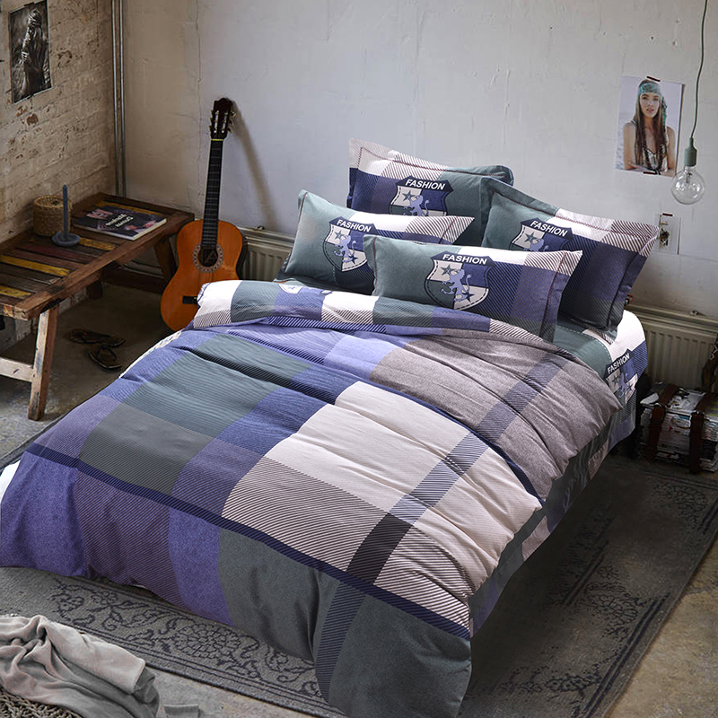 Modern Simple Style Plaid Mens Bedding Sets Queen Size King Size Brushed  Cotton Fabric Coverlet Duvet. Popular Mens Comforter Sets Queen Buy Cheap Mens Comforter Sets