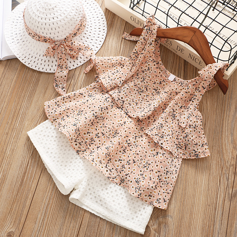 Brand 2018 New Cute Girls Clothes Sets Chiffon Harness Printing Vest+ Hollow White Shorts+Hat 3Pcs Suit Baby Girls Kids Clothes shein kiddie floral print cami top with fringe shorts girls suit sets 2019 summer sleeveless ruffle hem cute kids clothes sets