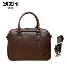 YIZHI 2018 Business Mens Briefcase Large Capacity Bag High Quality PU Leather Shoulder Bags Computer