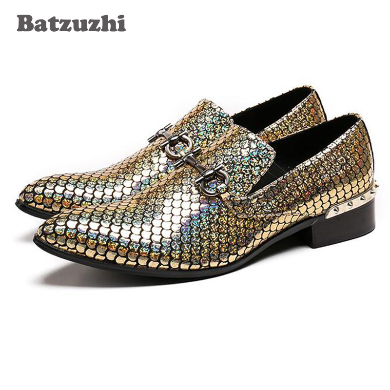 Batzuzhi Gold Glistening Glitter Men Oxfords Sequins Slip on Flats Banquet Wedding Mens Dress Shoes Genuine Leather size 38-46Batzuzhi Gold Glistening Glitter Men Oxfords Sequins Slip on Flats Banquet Wedding Mens Dress Shoes Genuine Leather size 38-46