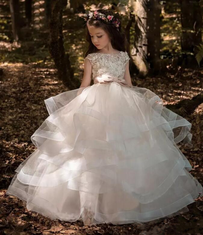 New Arrival Little Girls Lace Applique Holy First Communion Dresses for Girls Floor Length Open Back Princess Dress Size 2-16Y floor length plus size lace formal dress