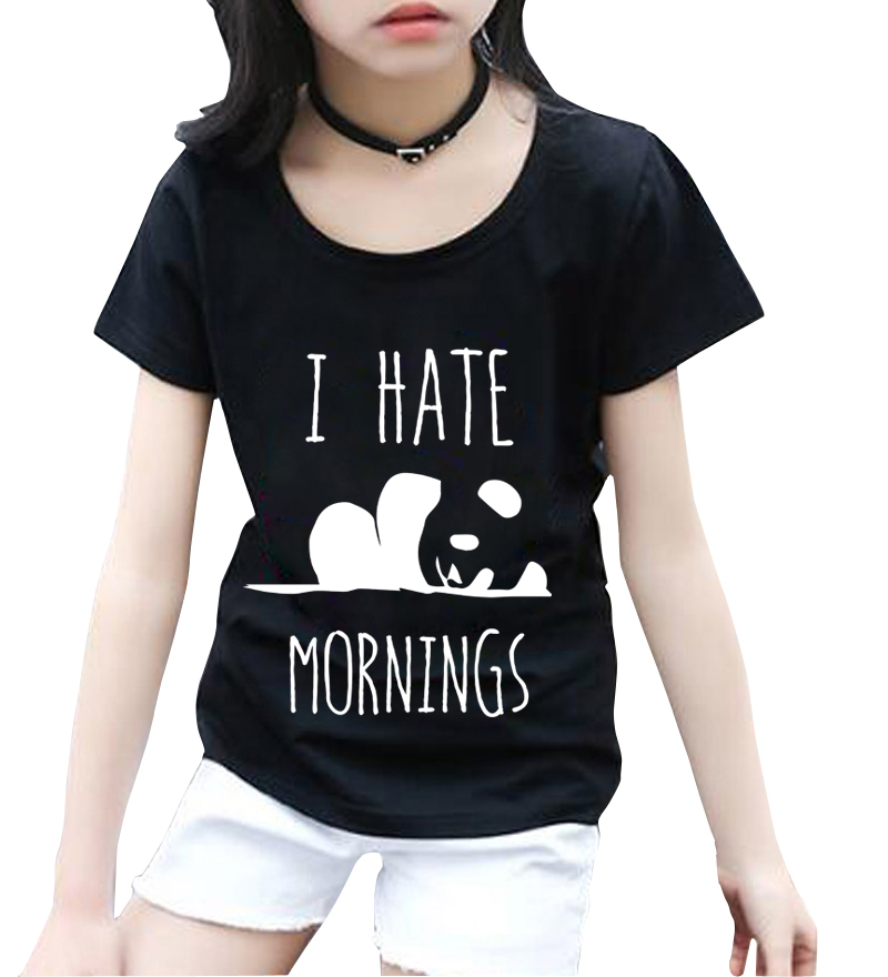 i hate mornings funny letter print 2018 summer cute panda tops tee shirts short sleeve kids t shirts new fashon brand clothing letter print striped tee