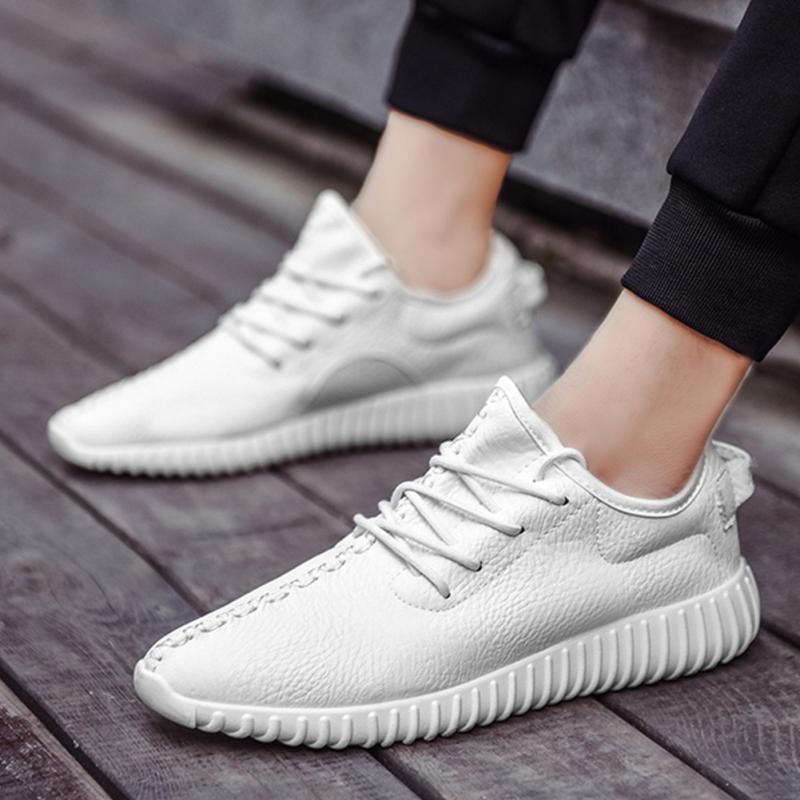 Prix pour 2017 Nouveau Hommes Doux PU Cuir Sneakers Garçons Dentelle Jusqu'à Chaussures De Sport Rue Style Planche À Roulettes Chaussures