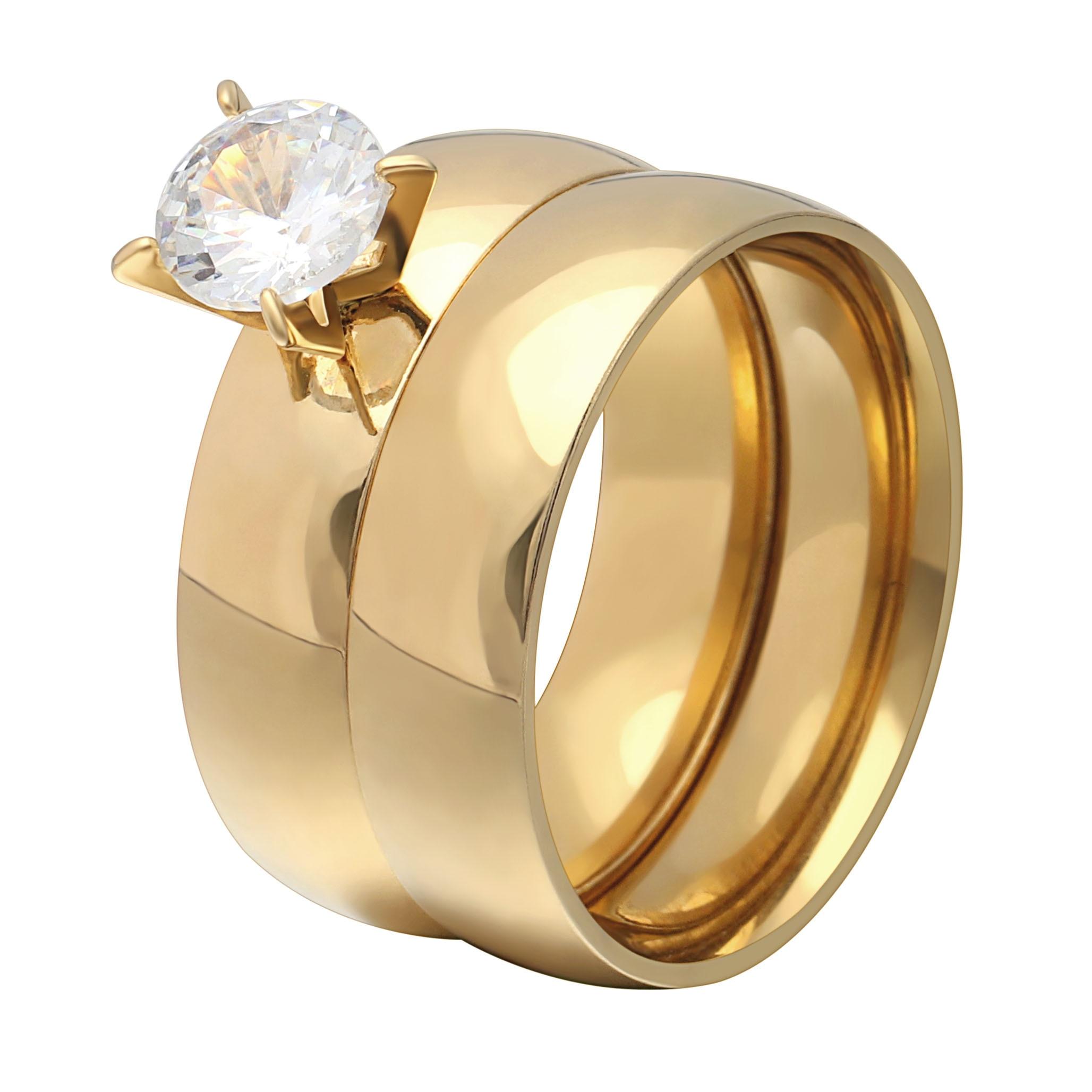 Warna Emas baru Putih 8mm Zircon Stainless Steel Anniversary Wedding Rings untuk Wanita Perhiasan