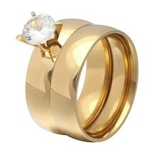 цена New gold color white 8mm zircon stainless steel anniversary wedding rings for women jewelry онлайн в 2017 году