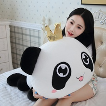 1pc 35/55cm Soft Cute Crown Panda Pillow Plush Stuffed Toys For Kids Kawaii Expression Children Gift Girls