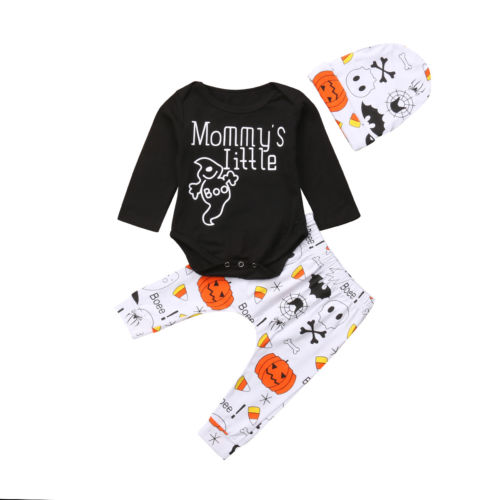 Infant Baby Boy Girl Halloween Mommy's Little Boo Print Bodysuit Tops Pants Hats Party Outfits Clothes Set Baby Girl Boy 0-24M