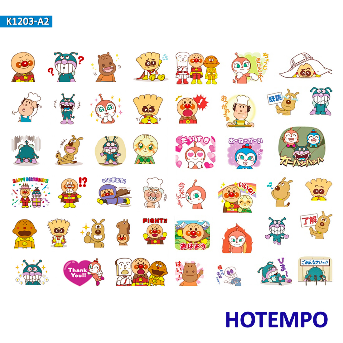 Anpanman Dokin-chan Baikinman Stickers For Girl Children Kids Gift DIY Letter Diary Scrapbooking Stationery Pegatinas  Stickers