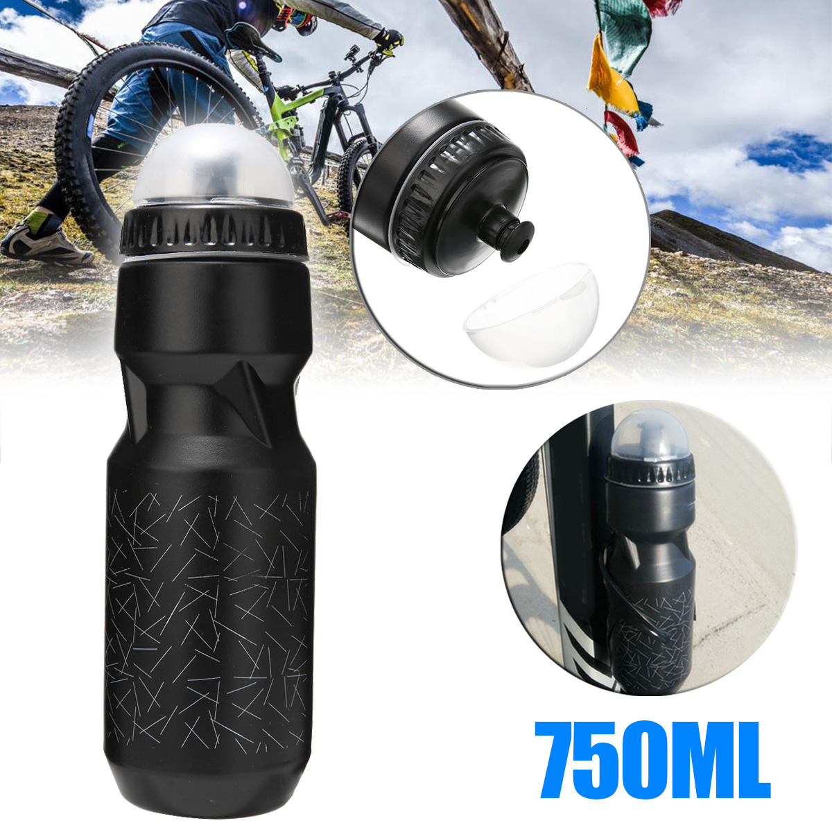 Outdoor Sport 750ml Portable Bicycle Water Bottle Outdoor Cycling Drinking Hiking Gym Water Bottle Cup Black High Quality