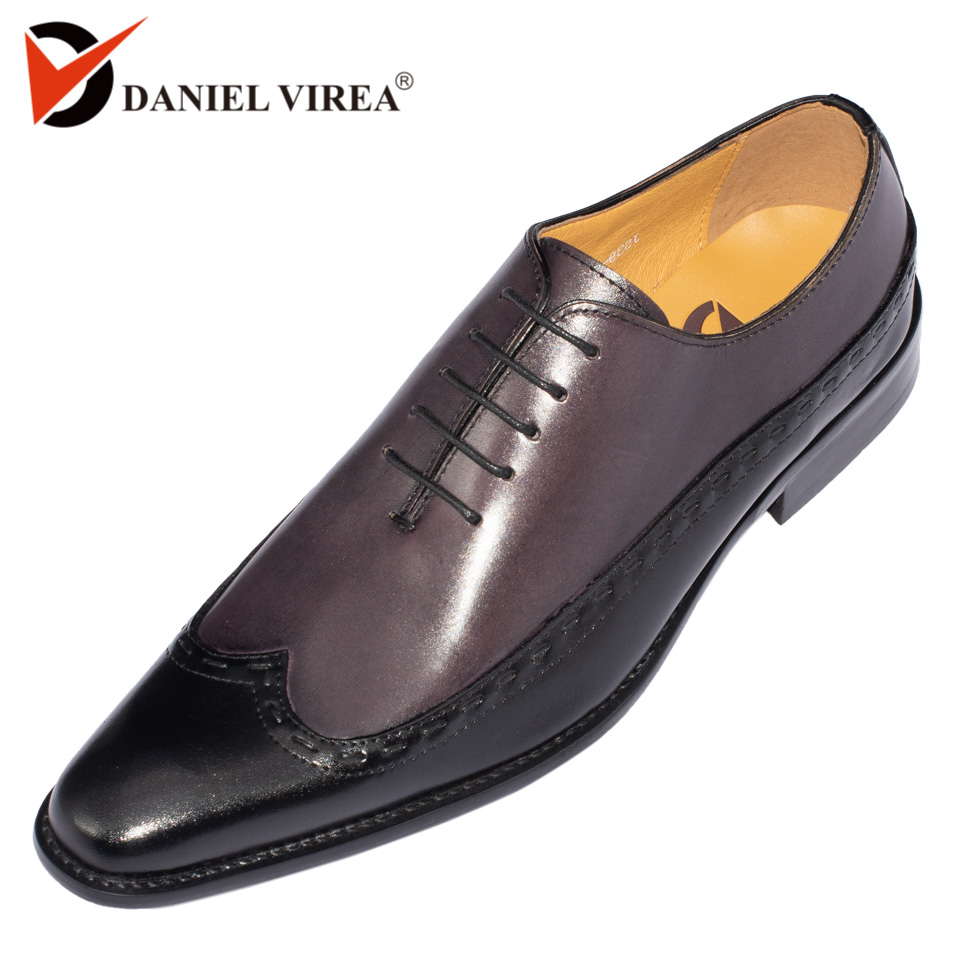 Mens Oxfords Leather Italian Design Fashion Luxury Brand Double Color Office Formal Pointed Toe Narrow Men