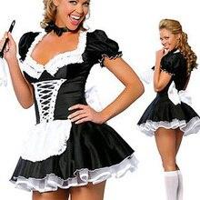 ML5034 Высокое качество Сексуальная взрослая женщина 2 шт Поздняя Ночь Французская горничная костюм Французская горничная