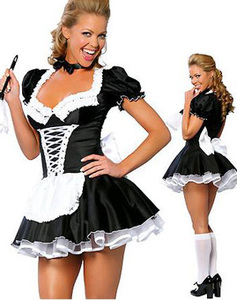 ML5034 Free Shipping High Quality Sexy Adult Woman 2PC Late Night French Maid Servant Costume French Maid Costume(China)