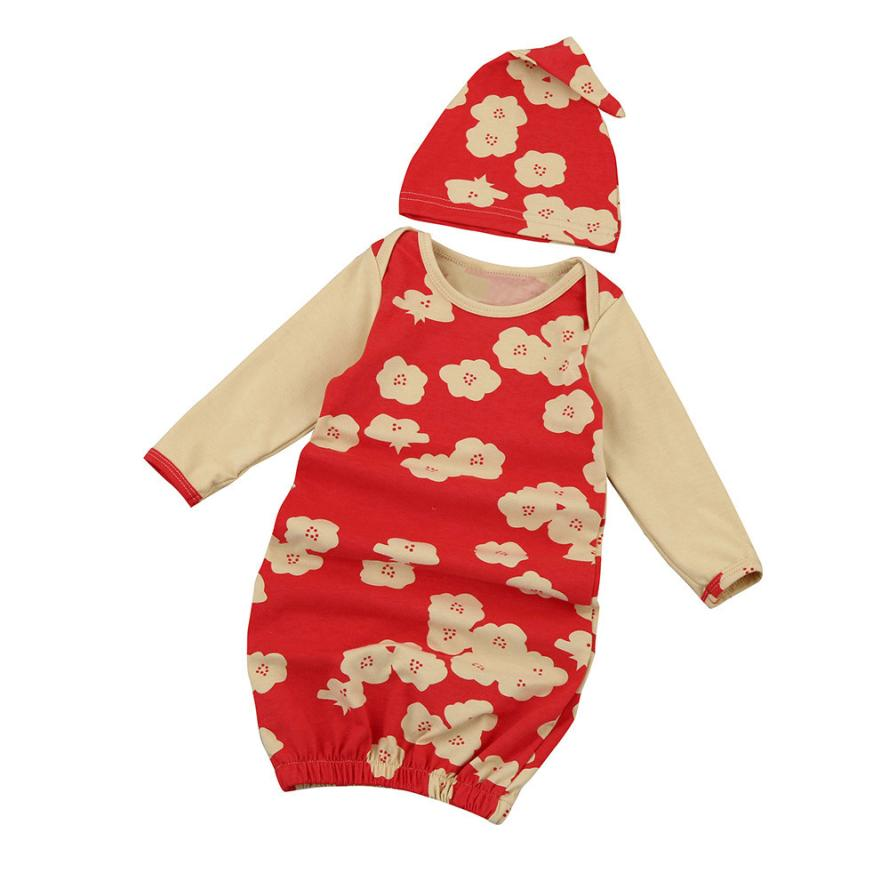 baby girl clothes Newborn Infant Kids Baby Girl Long Sleeve Pajamas Gown+Hat Outfits Clothes Bebek Giyim Clothing Costume