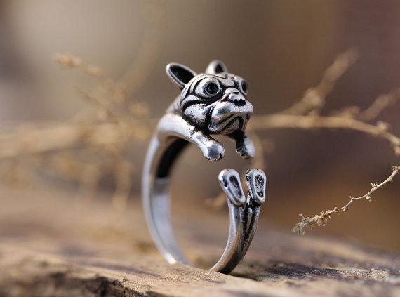 Wholesale Adjustable Retro Bulldog Ring Puppy Antique Silver/Bronze Animal Ring Jewelry Free Size --12PCS/Lot