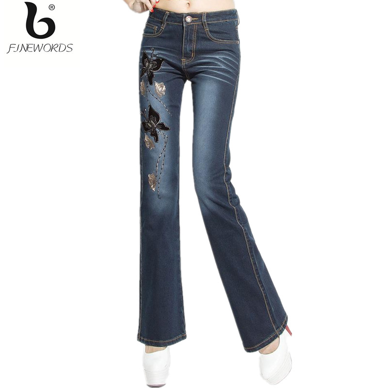 ФОТО FINEWORDS High Waist Nail Beaded Flower And Butterfly Pattern Handmade Embroidered Denim Jeans Plus Size Stretch Flare Pants