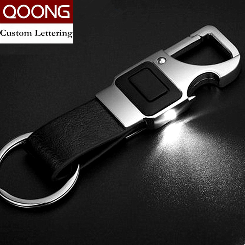 QOONG Custom Lettering Men Leather Key Chain Metal Car Key Ring Multifunctional Tool Key Holder LED, Bottle Opener Keychain 2-001
