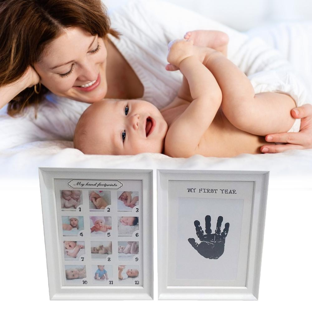 Baby Photo Frame DIY Handprint Or Footprint 12 Months Photo Frame Baby Boy Girl Present Gift One Year White Blue Pink Craft Ink