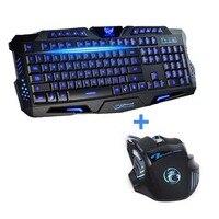 Новейший трехцветный USB проводной светодиодный ноутбук с подсветкой компьютерная геймерская Клавиатура Мышь комбо оптическая профессиона...