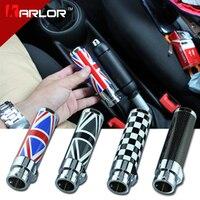 For BMW Mini Cooper Clubman R55 R56 Carbon Fiber Black Red Union Jack Checkered Handbrake Car