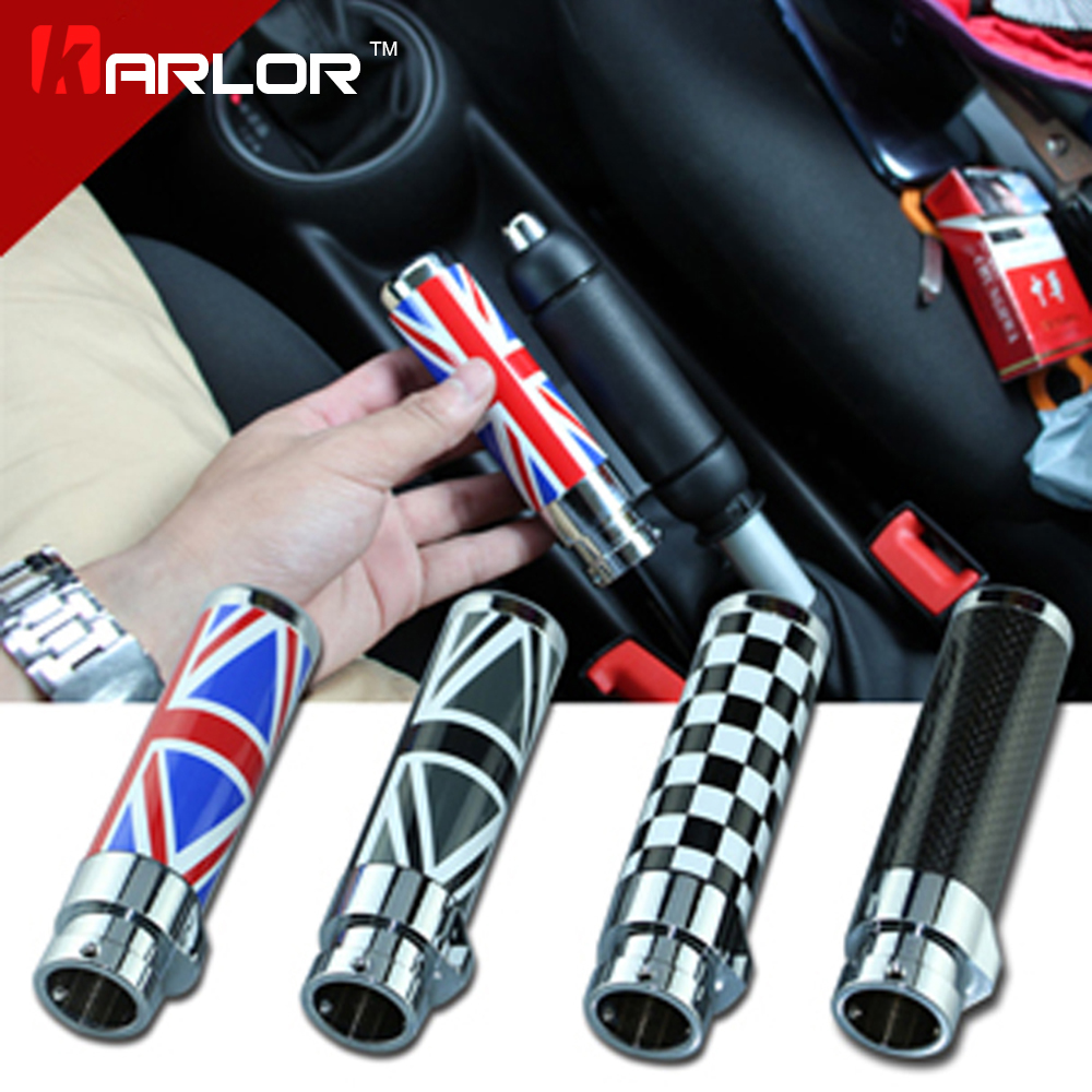 Per BMW mini cooper clubman R55 R56 In Fibra di Carbonio/Nero/Rosso Union Jack A Scacchi freno a mano modifica auto interni accessori