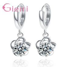 Pure 925 Sterling Silver Lever Back Loop Earrings Exquisite Beautiful Flowers Pendant Clear Cubic Zirconia For Women Girls