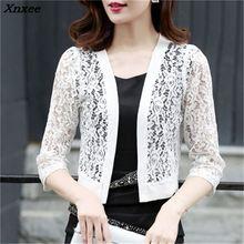 Xnxee 2018 Women Blouses Casual Kimono Korean Cardigan Shirt White Lace Crochet Blouse Plus Size Beach Shirts Summer Tops