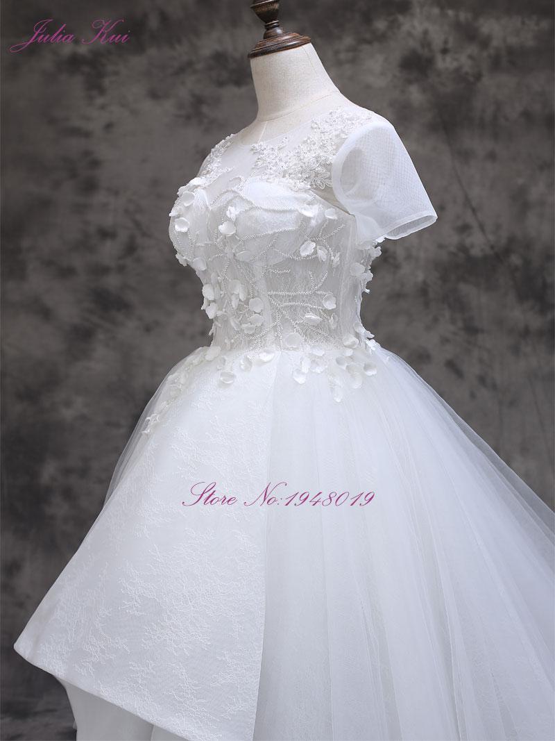 2017 Vestidos De Novias cu mica floare 3D cu maneci scurte o linie - Rochii de mireasa - Fotografie 4