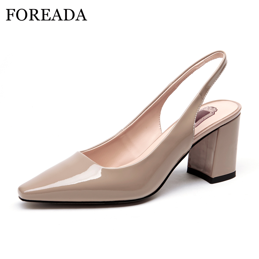 FOREADA Sexy High Heels Genuine Leather Shoes 2018 Spring Women Pumps Slingbacks Thick High Heels Pointed Toe Office Shoes Nude new genuine leather superstar solid thick heel zipper gladiator women pumps pointed toe office lady nude runway casual shoes l88