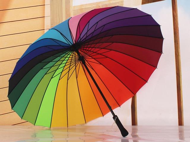 Новинка 2017 года Горячие большой и длинный Радужный зонтик-автоматический-ручка Зонты солнечно и rainny для Для женщин и Для мужчин