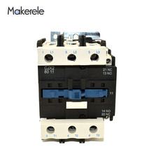 LC1 3 Phase 3-Pole Coil Voltage 380V 220V 110V 36V 24V 3P+1NO+1NC AC Contactor CJX2-8011 80A Use With Float Switch 80A 50/60Hz стоимость