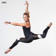2016 New High-Waist Yoga Sexy Black&White Mesh Panel Leggings Adagio Goddess Legging Running Pants Fitness Active wear For Women