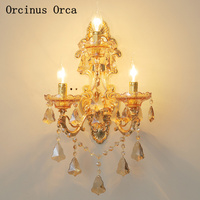 European retro zinc alloy wall lamp living room hallway French luxury LED gold decorative crystal wall lamp free shipping