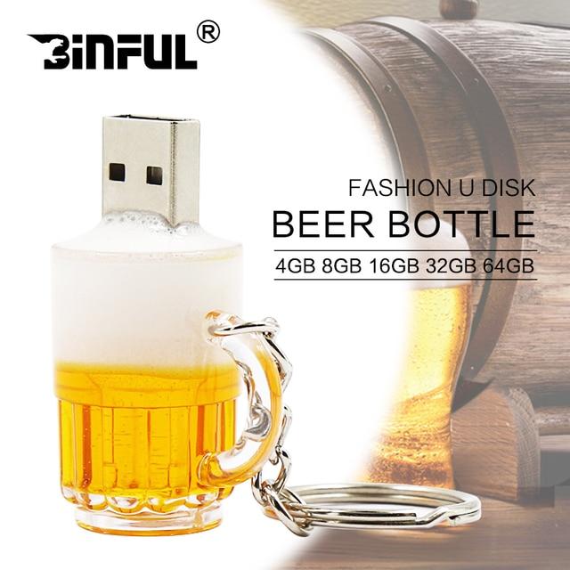Promotion New arrival U disk mini pen drive beer cup usb flash drive pendrive 4gb 8gb 16gb 32gb beer cartoon 100% real capacity