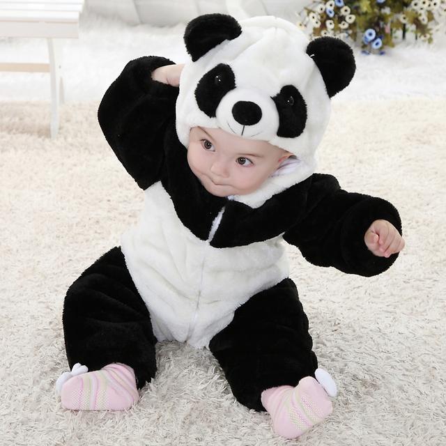 Hot New 2015 infantes de invierno ropa del bebé del bebé Panda animal forma estilo mameluco del bebé con capucha Onesie para los niños de algodón % ropa