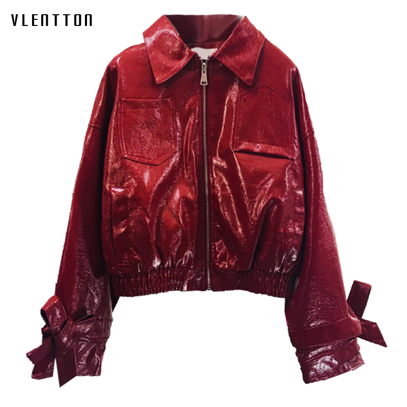 2019 New Red Women's Faux   Leather   Jacket Zipper Bow Short Long Sleeve Biker Jacket Coat Casual Loose PU   Leather   Female Outerwear