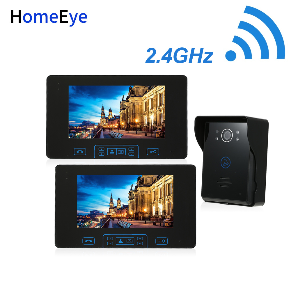HomeEye 2.4GHz Digital Wireless Video Door Phone Doorbell Intercom Access System Built-in Battery 7''TFT LCD Touch Key Rainproof