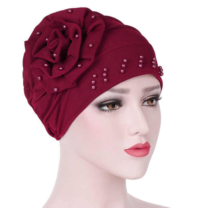 14310acb38c ... Fashion Women Beanie with Flower Ruffle Muslim Turban Pearl Beaded Hair  Loss Head Wrap Cancer Chemo ...