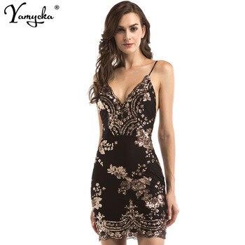 Sexy Black Gold Sequins Summer Dress Women Evening streetwear bodycon Party dress elegant Luxury Night club Dresses vestidos N