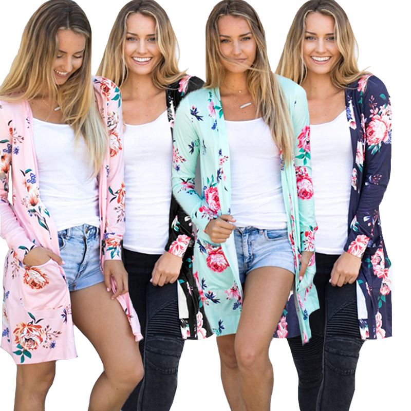 Autumn Long Cardigans Women 2020 Flower Print Casual Coat Long Sleeve Female V Neck Big Size Cardigan 3XL Plus Size Blue Pink