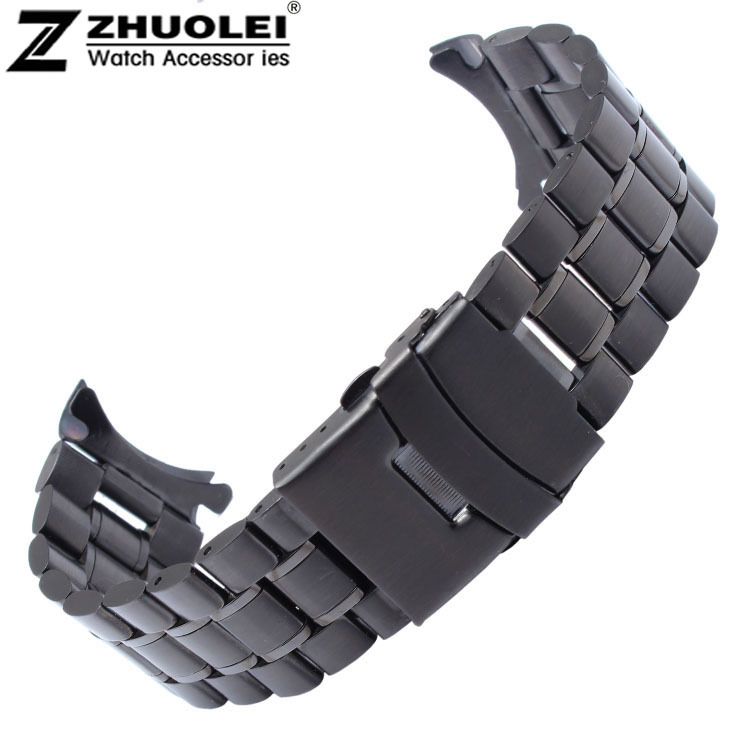 Black 18mm 20mm 22mm 24mm Black Stainless Steel  Bracelet Strap Replacement Wrist Watch Band Free Shipping 18 mm 20 mm 22 mm stainless steel watch band with adjust tool free shipping