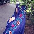 13 Cores Japonês Estilo Étnico Bordado Cachecóis e Xales para Mulheres Design de Moda Estilo Nação Bandana Pashmina Cachecol